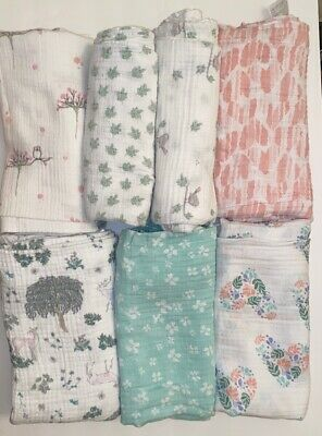aden + anais Swaddle Blanket Lot Of 8.  Baby Girl Woodland Deer Nature Themed