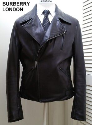 BURBERRY LONDON leather jacket black coat perfecto asymmetrical motorcycle biker for sale  Shipping to India