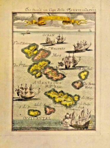 VERY RARE MAP  of the Isles du Cap-Verd 1685 CAPE VERDE ISLANDS COLOR FRAMEABLE
