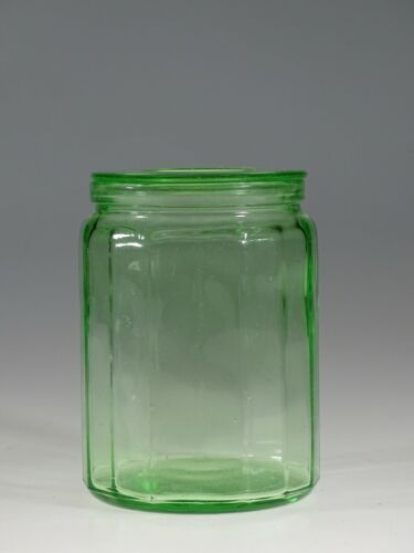 Vintage Hazel-Atlas Glass Ribbed Round Uranium Green Kitchen Canister  c.1930