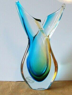 Vaso vintage ('60/'70) in vetro di Murano sommerso azzurro e giallo. H25cm
