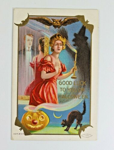 Antique Halloween Embossed Post Card, Taggart Good Luck Girl, Mirror and Witch