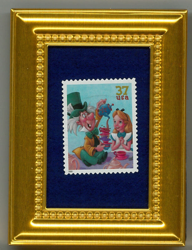 ALICE AND THE MAD HATTER DISNEY A COLLECTIBLE  FRAMED POSTAGE MASTERPIECE GIFT