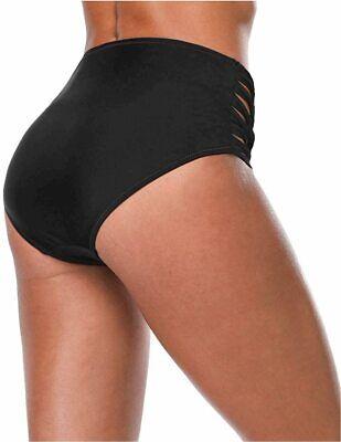 Women Swim Briefs Shirred Bikini Bottom Solid, Strappy-black, Size Large WFoP - $13.99