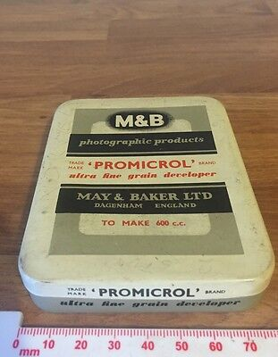 Collectable Tin M&B Photographic Products Promicrol Ultra Fine Grain Developer