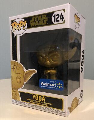 Funko Pop! Star Wars Golden Chrome Yoda #124 Walmart Exclusive W/ Protector
