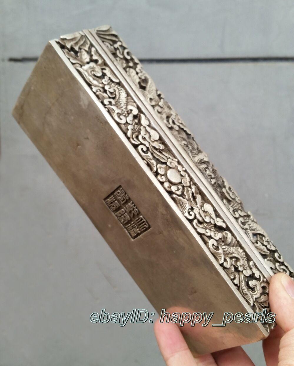 China Qing dynasty Handwork Miao silver dragon statue Bank money, jewelry Box