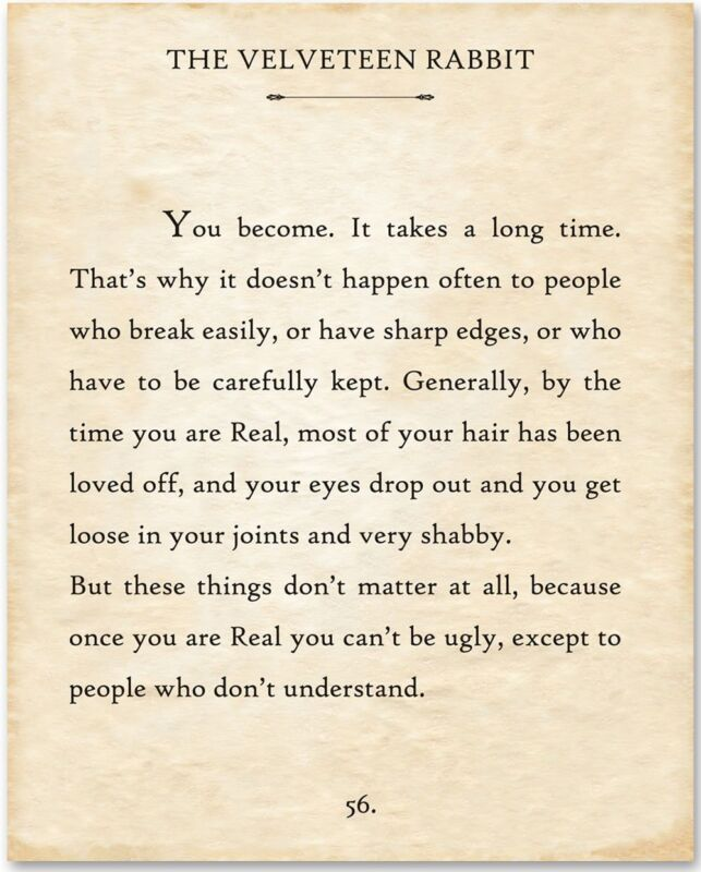 The Velveteen Rabbit - You Become - 11x14 Unframed Typography Book Page Print