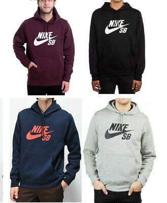 Men's New Nike SB Fleece Hoodie Hoody Hooded Sweatshirt Jumper Pullover Swoosh S