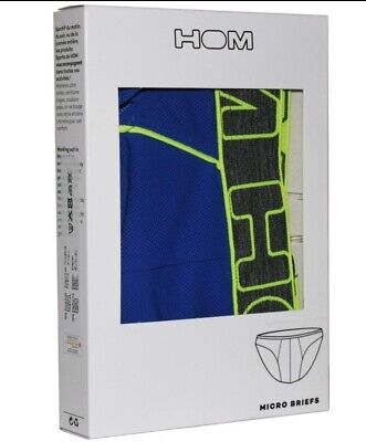 HOM Sport BodyFit Micro Brief, Blue/yellow  Size L