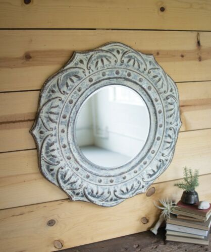 """Pressed Metal Flower Shabby Cottage Chic Wall Mirror Round 34""""D"""
