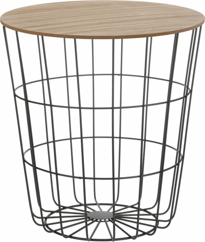 Design Beistelltisch - Metall Korb + Holz Deckel - Tisch Couchtisch Sofatisch