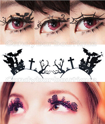 *Quirky Halloween Bat Spider Witch Haunted House Hand Cut Paper False Eyelashes* - Halloween Spider Eyelashes