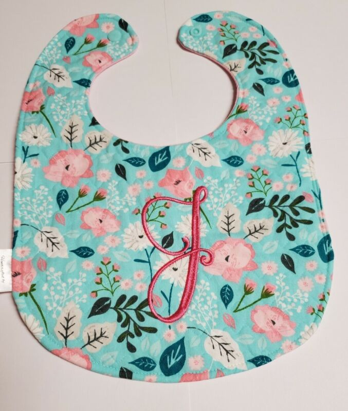 Handmade Baby Bib, Personalized  (Girl)