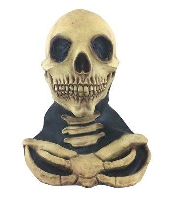 Latex Masken Uk (UK Weiß Schädel Skelett - Latex Deluxe Halloween Kostüm Maske Kostüm geschnürt)