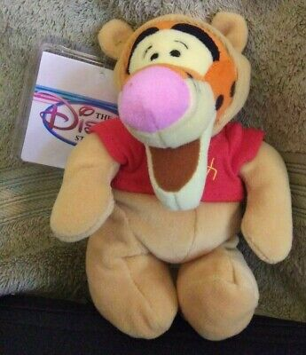 "NEW w/tag+protector- Disney Store - TIGGER AS POOH- 8"" Bean Bag Plush Halloween"