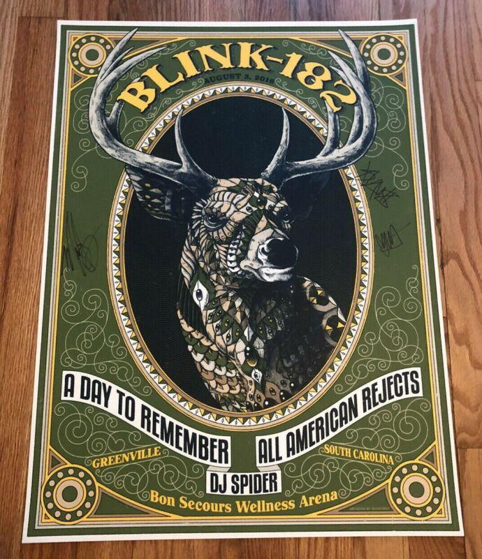 Blink-182 8/3/16 Greenville, SC AUTOGRAPHED Event Poster ORIGINAL SIGNED