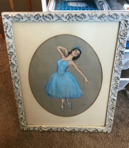 Pastels Blue Ballerina Vintage Signed Ainlys ? Artwork Beautiful in Frame 15x20
