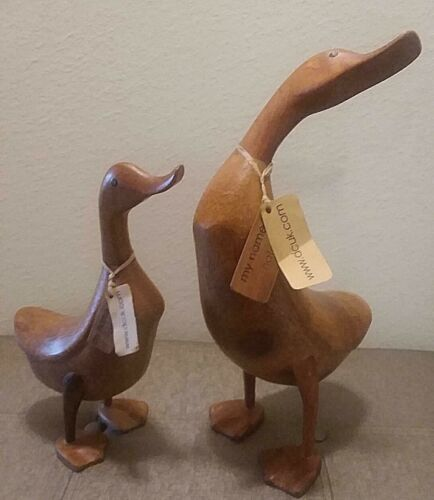 DCUK THE DUCK COMPANY PAIR WOODEN DUCKS 16 IN AND 13 IN BOTH W/TAGS