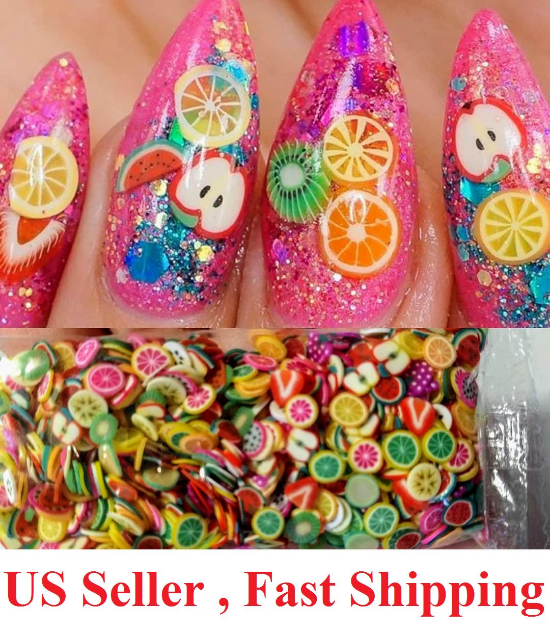 Fimo fruit slice nail art 3D polymer clay milkbath fimos para uñas de frutas Health & Beauty