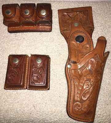Vintage Tex Shoemaker Hand Carved Leather Holster 42a W/ 2 Ammo Holders