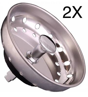 Chrome Stainless Steel Sink Drainer Strainer Stopper Replacement Basket -2pc Lot ()