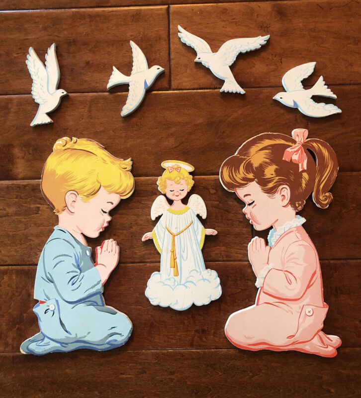 Vintage Dolly Toy Praying Boy And Girl Angel Doves Wall Plaques - Complete 1950s