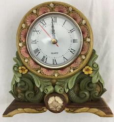 "Vintage Quartz Battery Resin Floral Desk Table Office Clock Boho Shabby 6"" Tall"