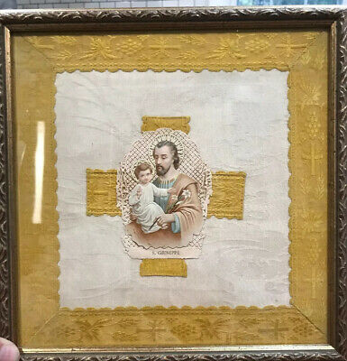 "Josef with child Giuseppe RELIGIOUS CLOTH Italy 10X10"" or 26.5cmX26.5cm"