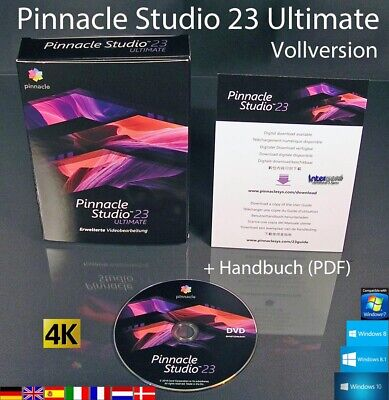 Pinnacle Studio 23 Ultimate Vollversion Box + DVD 4K Videosoftware +Handbuch NEU