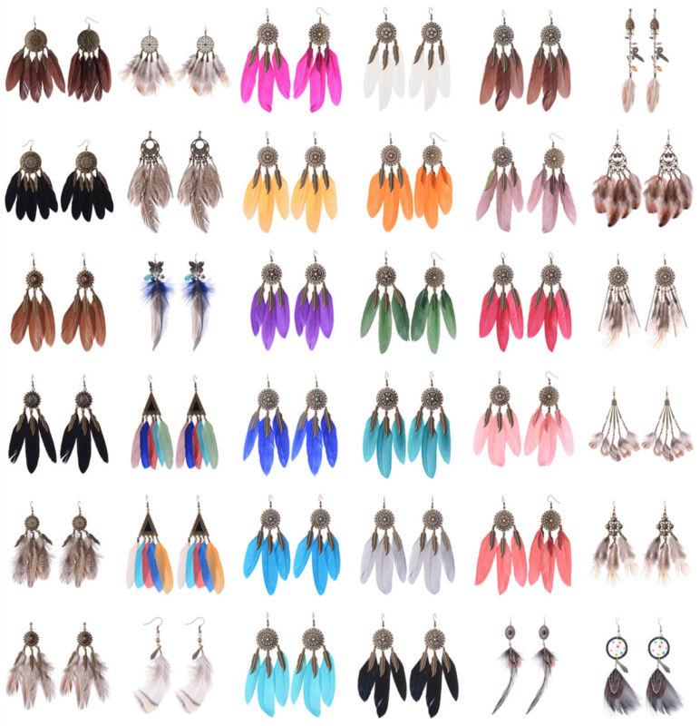 Retro Bohemia Feather Beads Long Design Dream Catcher Earrings For Women Jewelry