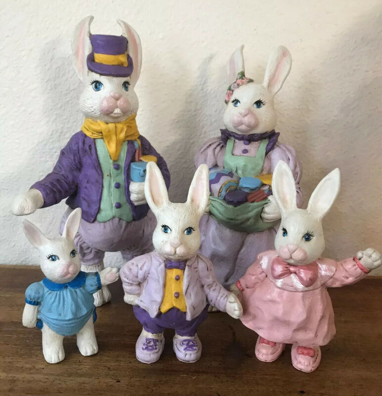 Vintage Easter BUNNY RABBITS Ceramic Figurines! Mom, Dad, Kids
