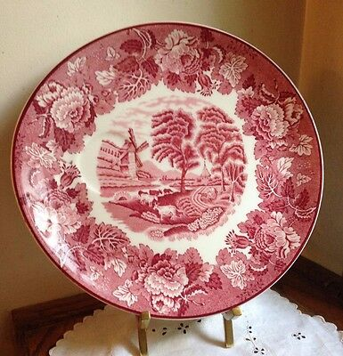 ENOCH WOOD AND SONS ENGLISH SCENERY SNACK PLATE RED WHITE VINTAGE