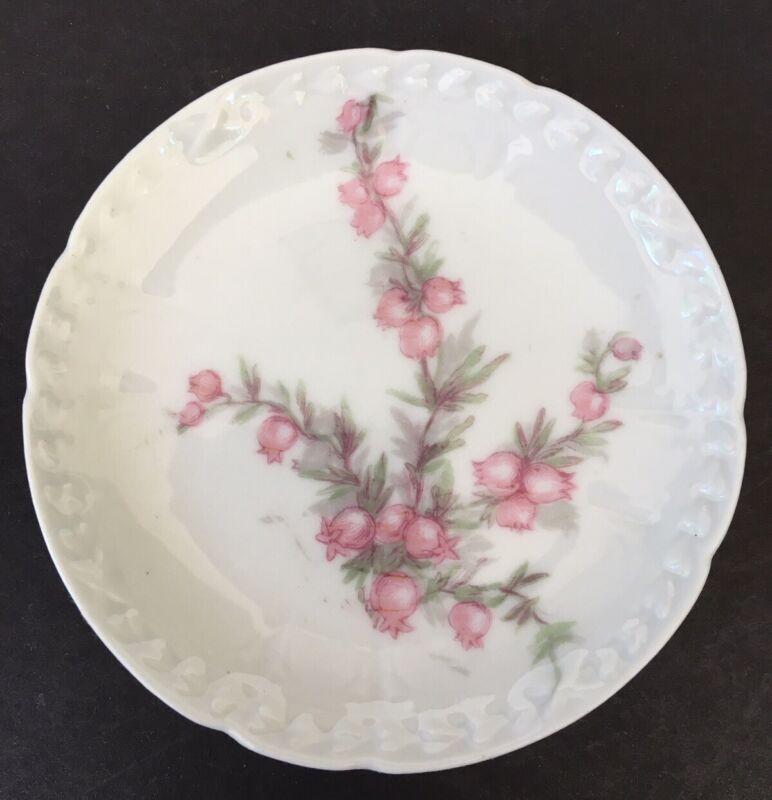 Vintage GDA Limoges France Butter Pat ~Hand Painted Pink Flowers