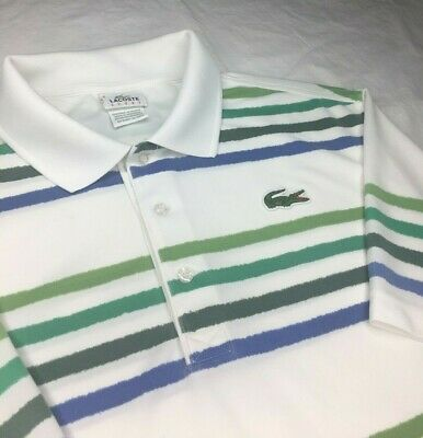Vintage Lacoste Sport White Green Striped Embroidered Polo Shirt Men's Size 6 XL