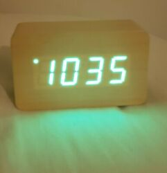 Mini Wooden Cordless LED Digital Alarm Clock + Date/Time/Temperature
