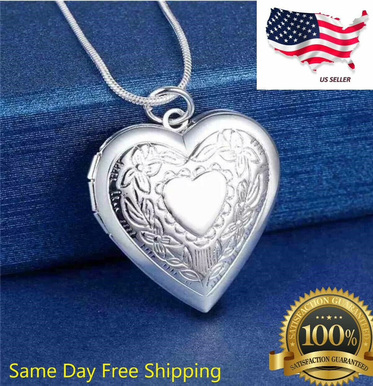 """Jewellery - 925 Sterling Silver Plt Heart Necklace, Locket Photo Picture Pendant 18""""  N1"""