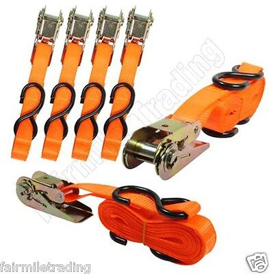 4 Auto Locking Ratchet Tie Down Straps 25mm x 4.6m Blue or Orange Cargo Lashing
