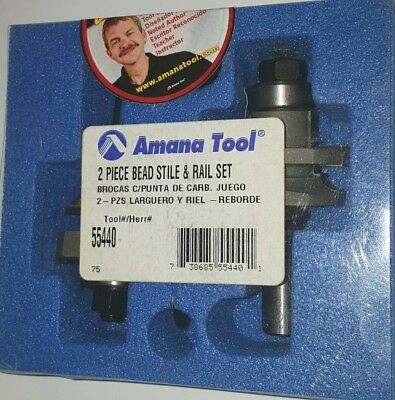 Amana Tool 55440 2 Piece Bead Stile Rail Router Bit Set 12 Inch Shank
