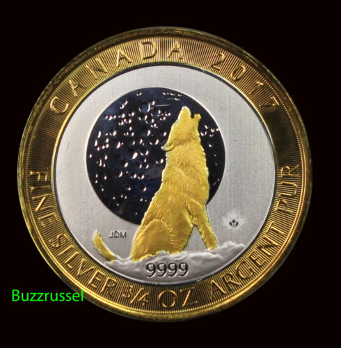 2017 3/4 oz Ounce Canadian Silver Howling Wolf Moon Coin 24K Gold Gilded