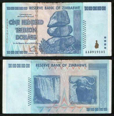 100 TRILLION ZIMBABWE DOLLAR MONEY CURRENCY(F). *BILLION Million 5 10 20 50*