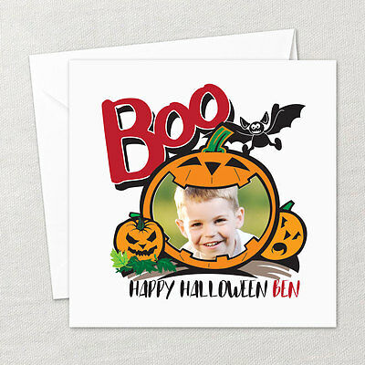 Handmade Personalised Halloween Card with Photo and Name and Envelope - Photo Halloween Cards