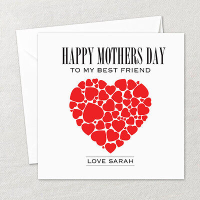 Personalised Happy Mothers Day Card Red Love Hearts To My Best Friend