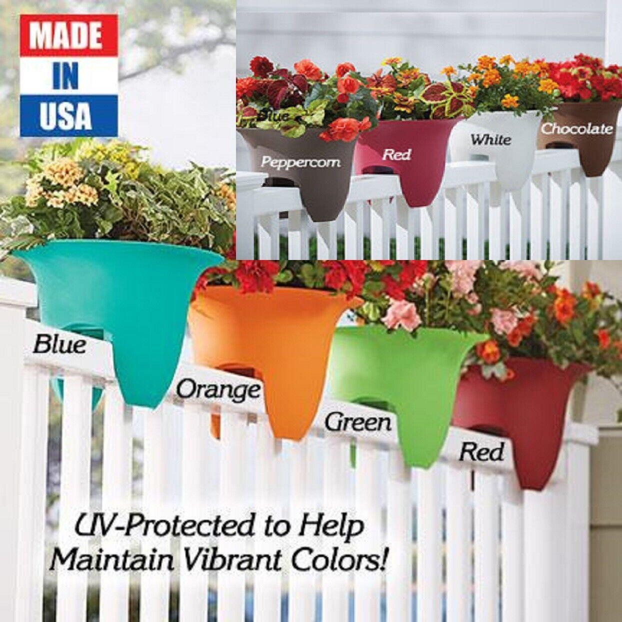 Flower Plastic Railing Planter Pot Garden Porch Rail Outdoor Decor UV Colors USA Décor