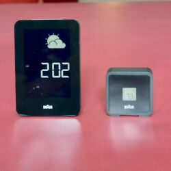 Braun BNC013-RC Global Radio Controlled Weather Station Clock Black with remote