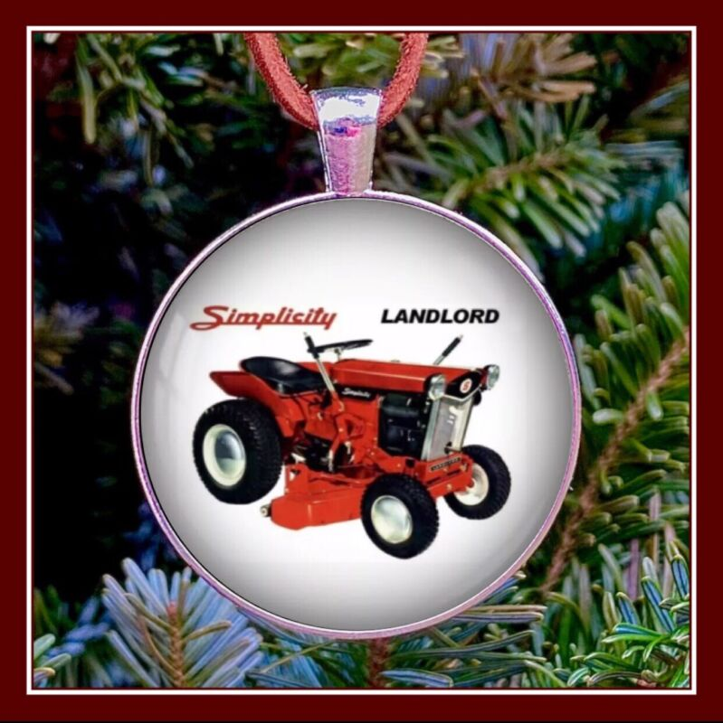 Vintage Simplicity Landlord Tractor Mower Lawn Ad Photo Ornament