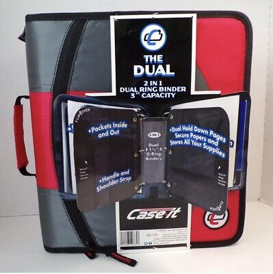 New Case-it The Dual Td-110 2-in-1 Zipper Double D-ring Binder Red Gray 3