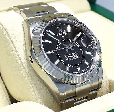 Rolex Sky-Dweller 326934 Steel Black Dial Oyster Perpetual BOX/PAPERS *NEW*