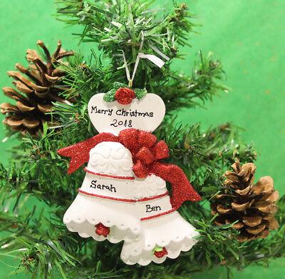 Personalisiert Christbaumschmuck Ornament Weihnachts Hochzeit Glocken Paar ()