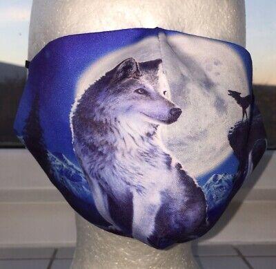 Behelfsmaske Stoff Maske Mund Nase Schutz waschbar Wölfe bei Nacht Erwachsene